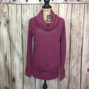 Aerie Maroon Turtleneck Sweater Pockets Small